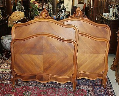 Beautiful French Antique Pair of Louis XV Walnut Twin Size Bed.