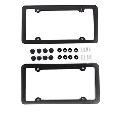 Alloy License Plate Frame Cover For American Standard Auto Car Truck SUV Black