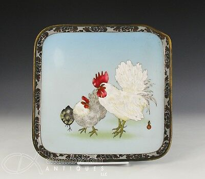 Antique Japanese Cloisonne Tray With Cockerel And Chick  - Namikawa Sosuke