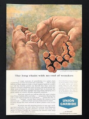 1961 Vintage Print Ad UNION CARBIDE Giant Hands Pulling Chain Of Molecules