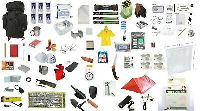 BLACK Tactical 72 Hour Survival Kit Backpack Emergency 3 Day Pack Food Water BOB