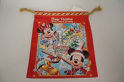 Tokyo Disneyland Sea Pin Trading Pouch Drawstring Bag Christmas 2015 NEW + Tags