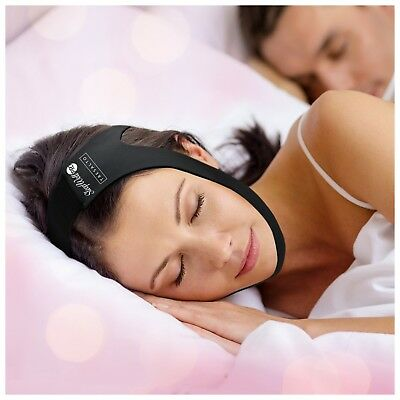 SleepWell Pro Adjustable Stop Snoring Chin Strap (Black Fits Most)