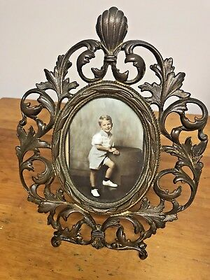 Antique/Vintage Ornate Brass Baroque Style Picture Frame For Table/Desk Top/Wall