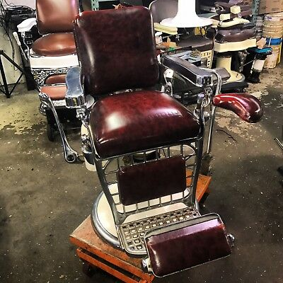 Antique barber chair Emil J Paidar with side seat