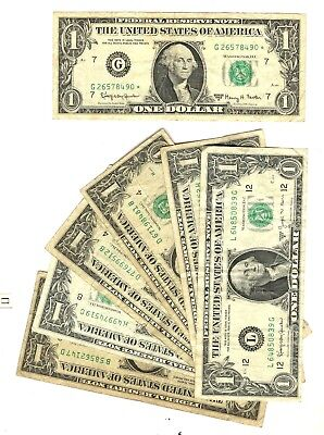 """Lot of 7 $1 Dollar Federal Reserve Notes """"Green Seal"""" Series 1963,1977"""