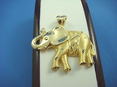 18K Yellow Gold Large And Heavy Trunk Up Elephant Pendant, 24 Grams