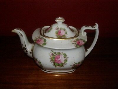 Antique 19th Cent. HP Teapot w/ Rose Floral Decoration - Machin Ca. 1815 Repair