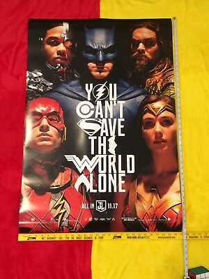 "Justice League Movie Poster DS 27""x40"" New,Gal Gadot,Henry Cavill,Ben Affleck,DC"