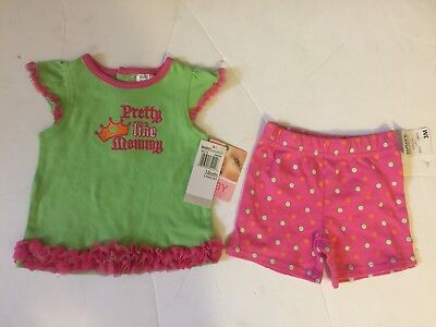 Baby Essentials 2pc green / pink shirt and short pant set for girls size 3M