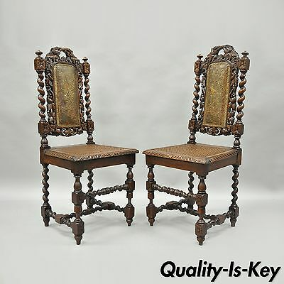 Pair Renaissance Revival Carved Oak Wood Black Forest Barley Twist Cane Chairs B