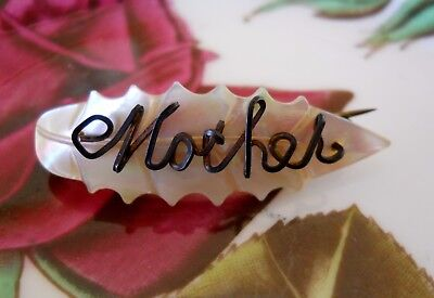 Vintage Antique Carved Mother of Pearl Leaf Shape Shell Wire Work Mother Brooch