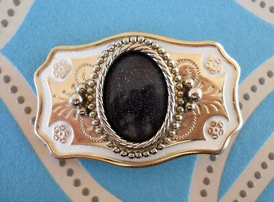 Vintage Rockabilly Country Western Gold Tone Black Goldstone Centre Belt Buckle