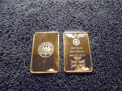 1 Troy Oz 24k Gold Clad Bar Iron Cross Post Nazi Germany WW2 Shipped w/ Capsule