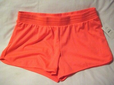 NEW Danskin Now Semi Fit SHORTS Orange Luster L/G 12-14 Dri More NEON