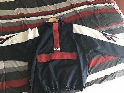 Rare Mens VTG Retro 80s 90s Reebok Windbreaker Jacket Navy/White