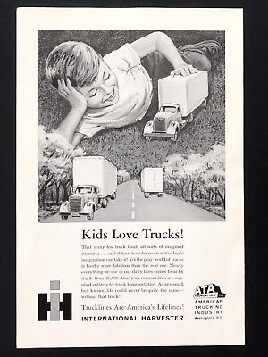 1961 Vintage Print Ad INTERNATIONAL HARVESTER Kid Boy Plays Trucks Image Toy