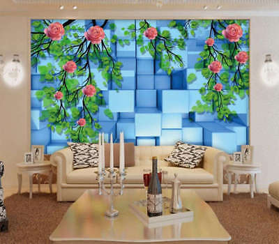 Blue Crystal Rose 3D Full Wall Mural Photo Wallpaper Printing Home Kids Decor