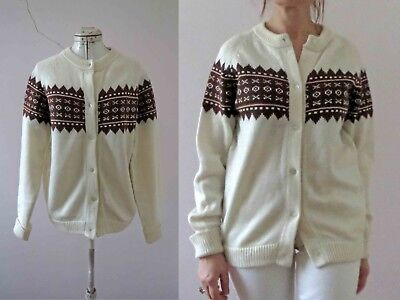 70s Ivory Brown Fair Isle Knit Nordic Ski Cardigan S-M Buy 3+items for FREE Post