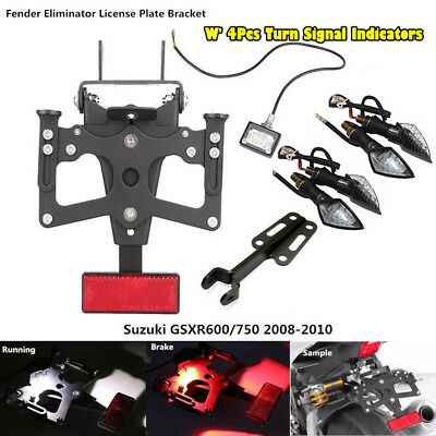 Fender Eliminator Kit License Plate Frame For Suzuki GSXR 600 750 08-10 w/Light