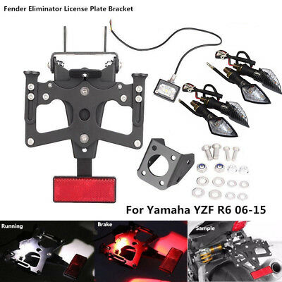 Fender Eliminator Kit License Plate Frame For Yamaha YZF R6 2006-2015 w/Lights