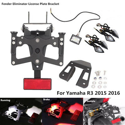 License Plate Holder Rear Tail Tidy Fender LED Light 4 YAMAHA YZF R3 R25 15 16