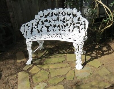 Antique Victorian cast iron love seat - Grapes & Vine see matching 3 pce setting