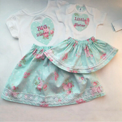 AU Kids Baby Girl Family Matching Sister Top Romper T-shirt+Skirt Outfit Clothes