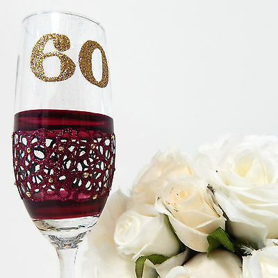 60th Birthday Champagne Toasting Flute Glass Personalised Gift For Her 60th Lace