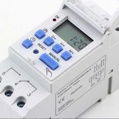 Hot Digital LCD DIN Programmable Weekly Rail Timer AC 220V 16A Time Relay Switch