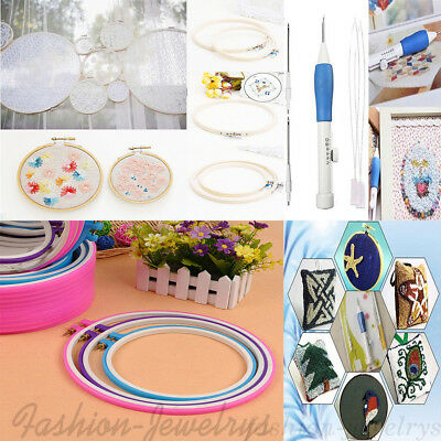 Colorful Multi Size Embroidery Cross Stitch Hoop Ring/ Punch Needle Sew Kit DIY