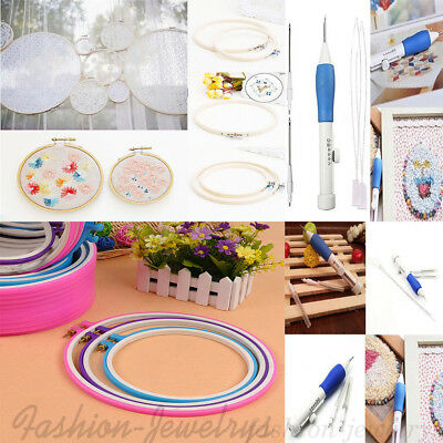 Various Size Embroidery Cross Stitch Hoop Ring/ Punch Needle DIY Craft Tools Set