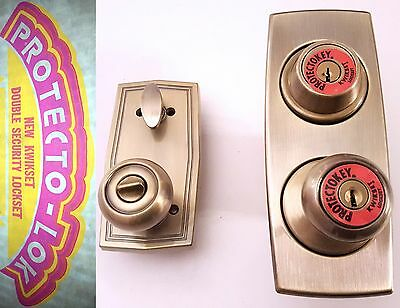 Mid-Century Front Door Knob Entry Set Kwikset Vintage Unused Complete In Box