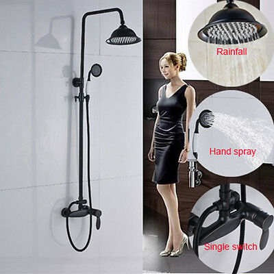 """Oil Rubbed Bronze Shower Faucet 8""""Rainfall With Hand Shower Spray Wall Mount Tap"""