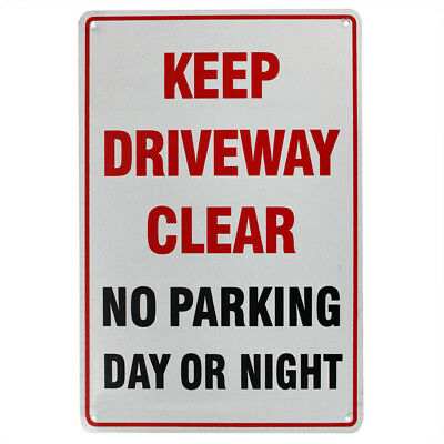 WARNING  KEEP DRIVEWAY CLEAR NO PARKING DAY NIGHT SIGN 225x300mm METAL 16003058