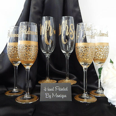 Wedding Glass Set of 6 Hand Painted and Personalised in Australia