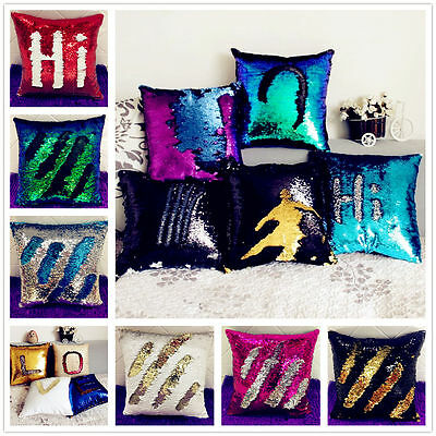 2017 Hot Reversible Color Change Mermaid Cushion Cover Glitter Throw Pillow Case