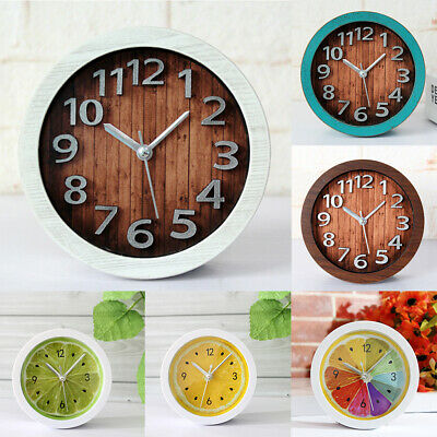 Wooden Classic Clock Various Cute Pattern Non-ticking Bedside Alarm Clock