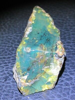 Ref.# 412-Dominican Amber Blue/Green Gem rough stone Bead-22.4x60.5mm(21g)