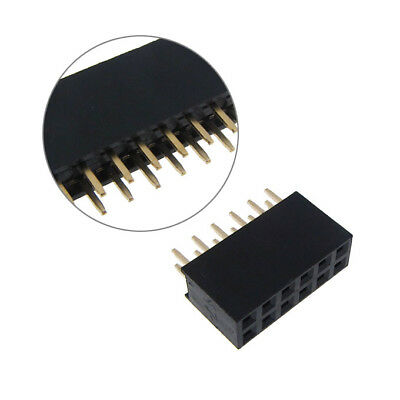 """2x6 Position Female Socket Header Connector 0.1"""" 2.54mm - QTY(5)"""
