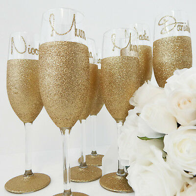 Bridesmaid Gifts Personalised Toasting Flutes Gold Glitter Glass Rio
