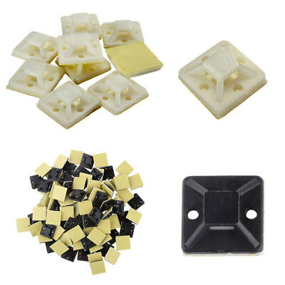 100pcs Nylon Cable Zip Tie Mounts Self-Adhesive Wall Holder Mount Clip Clamp DIY