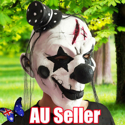 New Holloween Mask White Color Black Nose Clown Face Fancy Scary Dress Props BO