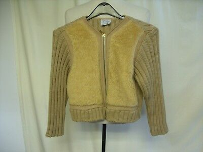 Girls Boys Jacket VERSACE, age 8, 128cm, beige knit & faux fur front, zip 7083