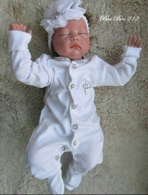 Romany Baby Unique' Bling Personalised Diamante Initial Sleepsuit/ Headband