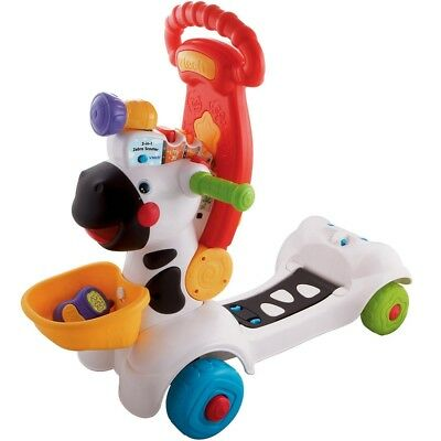 VTech Baby 3 In 1 Zebra 3 Ways To Play! Push Walker, Ride-On Or Scooter!