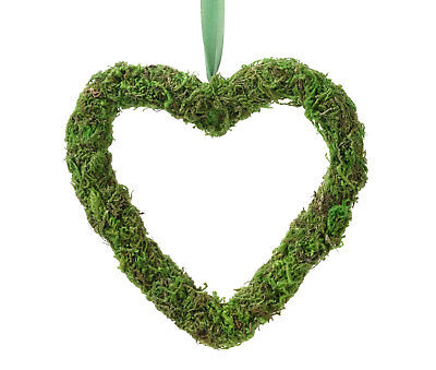 Moss Heart Hanging Wedding Engagement Woodland Love Chair Aisle Decoration Green