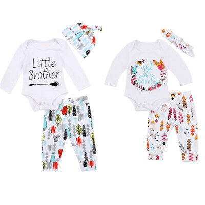 AU Stock Newborn Baby Girl Boy Tops Romper Long Pants Hat Outfits Clothes Set