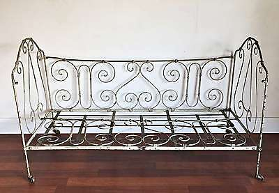 Antique French Wrought Iron Day Bed ex Cot Verandah Sunroom  * TMx