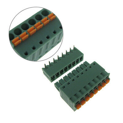 """8 Positions 3.50mm 0.137"""" Quick Connect Spring Terminal Block Header & Plug"""